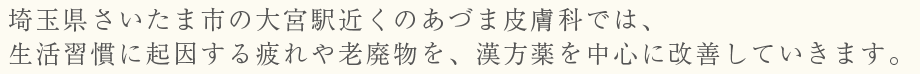 埼玉県さいたま市の大宮駅近くのあづま皮膚科では、生活習慣に起因する疲れや老廃物を、漢方薬を中心に改善していきます。